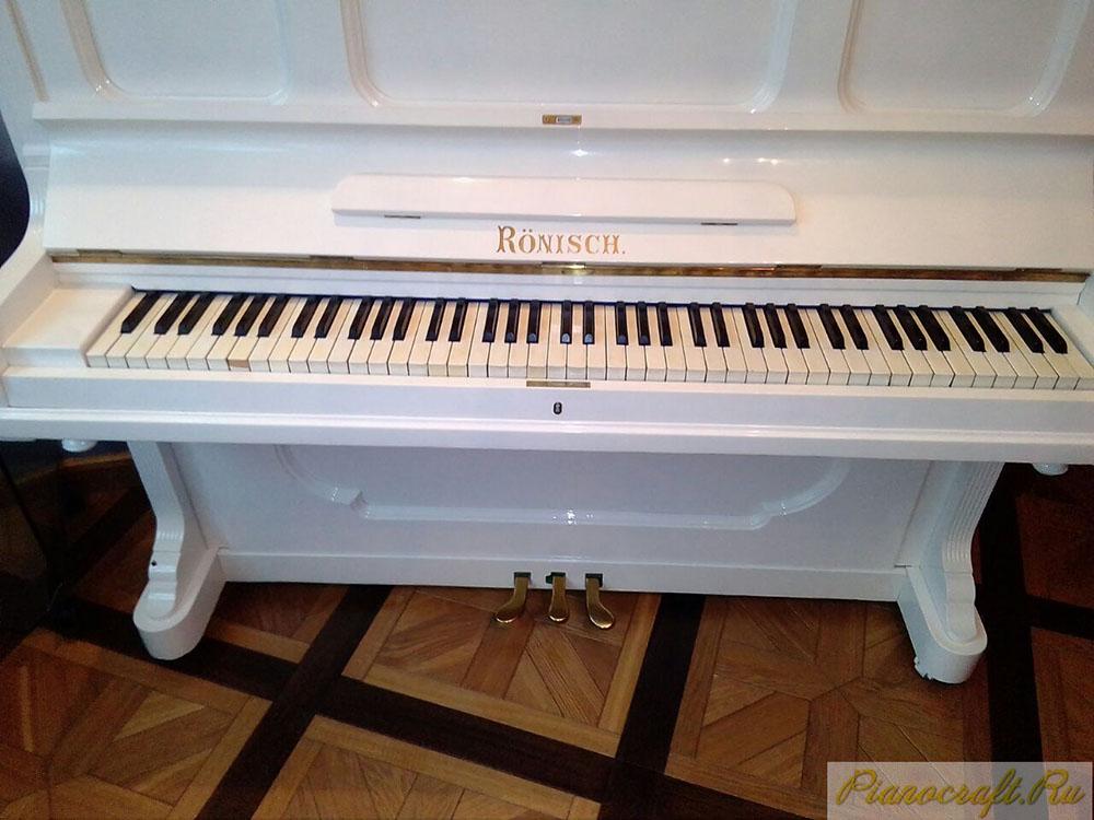 Покраска пианино RONISCH белый полиэфирный лак